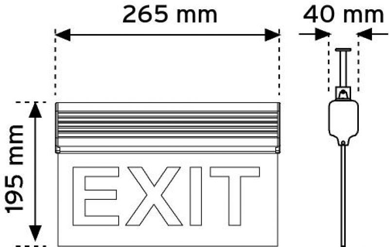 17110 265 mm Led'li Acil Yönlendirme Armatürleri-Asma Tipi ( Çift taraflı ) şema
