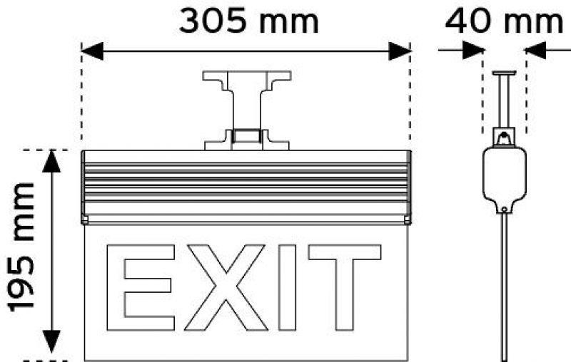 17120 305 mm LED'li Acil Yönlendirme Armatürleri - Asma tipi (Çift taraflı)