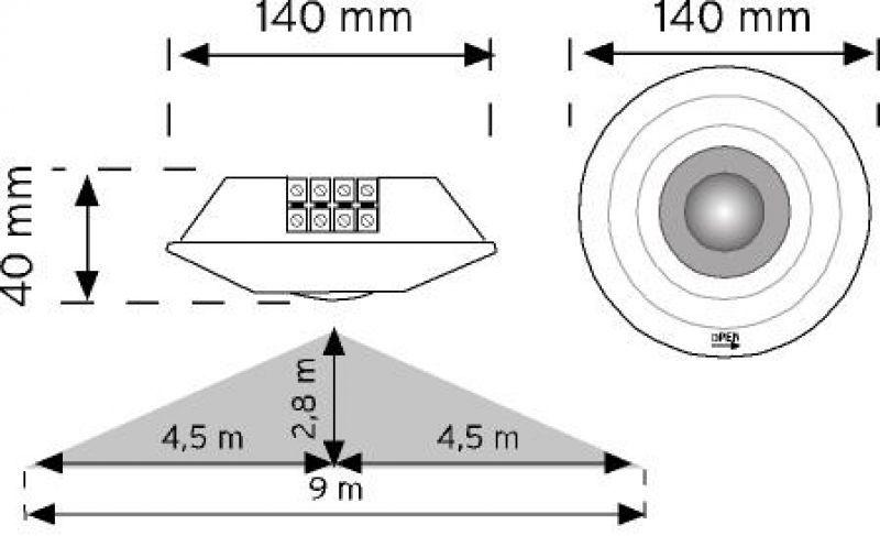 10359 360° Tavan Tipi Hareket Sensörü - Sıva altı