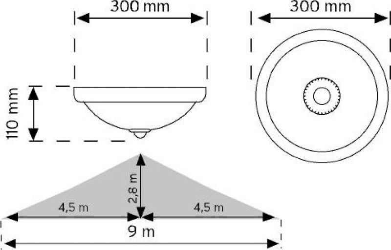 10650 Krom 360° Hareket Sensörlü LED'li Acil Aydınlatma Özellikli Tavan Armatürü şema