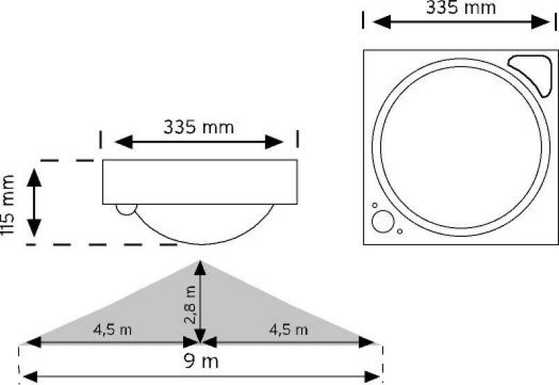 10710 Gri 360° Hareket Sensörlü LED'li Acil Aydınlatmalı Tavan Armatürü şema