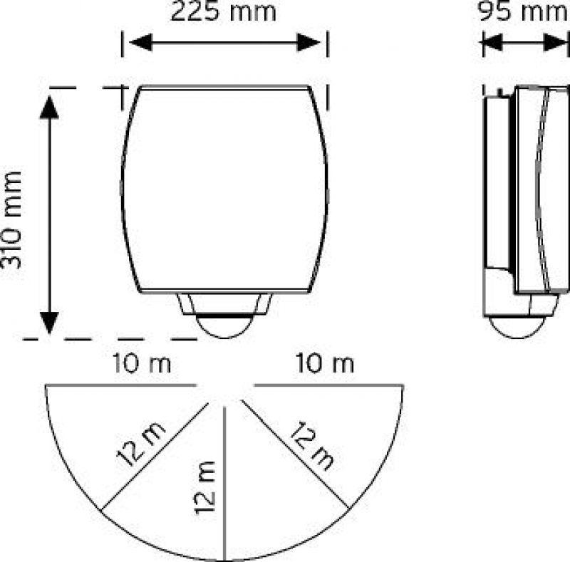 10840 180° 3 Hareket Sensörlü Acil Aydınlatma Özellikli LED'li Duvar Armatürü şema
