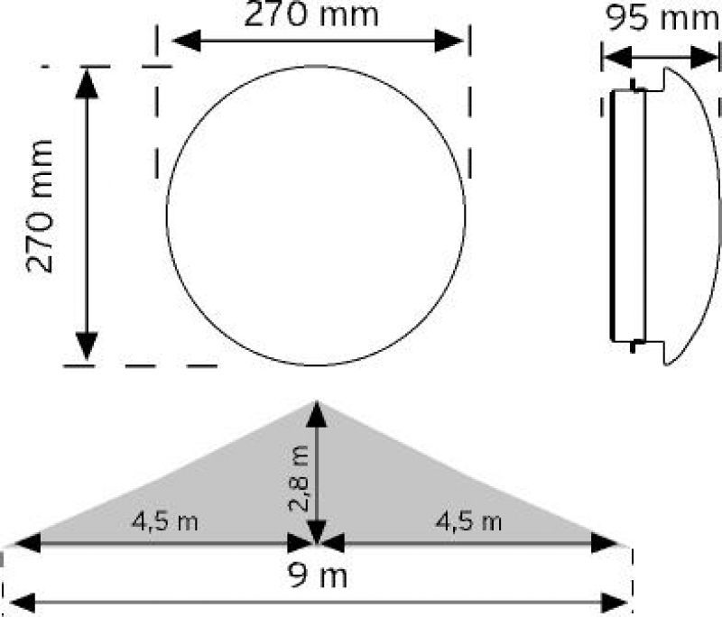 10950 HF (radar) Sensörlü Tavan Armatürü şema