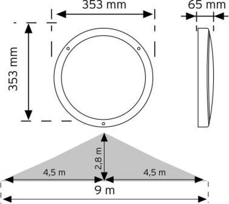10971 HF (radar) Sensörlü Acil Aydınlatma Özellikli LED'li Aydınlatma Armatürü şema
