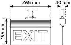 17120 265 mm Led'li Acil Yönlendirme Armatürleri-Asma Tipi ( Çift taraflı ) şema