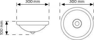 00999K Krom 360° Hareket Sensörlü Tavan Armatürü şema