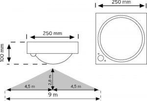 10300 360° Hareket Sensörlü Tavan Armatürü şema