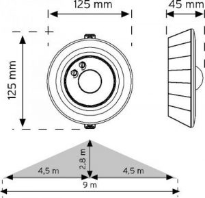 10361 360° Hareket Sensörü - Sıva Üstü şema