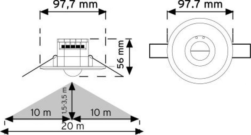 10366 360° Tavan Tipi Sıva Altı HF Hareket Sensörü