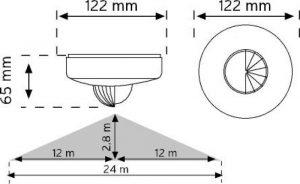 10463 360° Tavan Tipi Hareket Sensörü (Trio - 3 Göz Sensör) şema