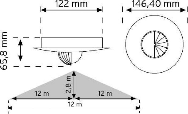 10465 360° Tavan Tipi Hareket Sensörü - Sıva altı (Trio - 3 Göz Sensör) şema