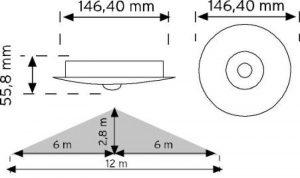 10466 360° Tavan Tipi Hareket Sensörü - Sıva Altı şema