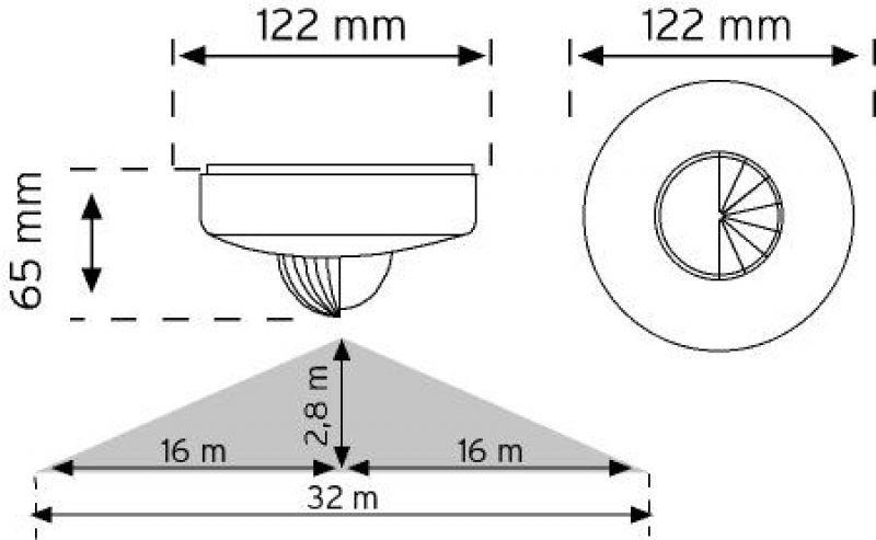 10467 Tavan Tipi Hareket Sensörü (Koridor Sensor)
