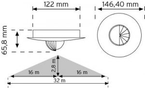 10468 Tavan Tipi Hareket Sensörü - Sıva Altı (Koridor Sensor) şema